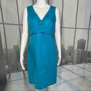 Richard Malcolm Turquoise Sleeveless Linen Dress 6